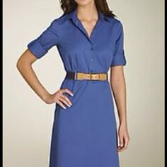 Theory 'Kodana' shirtdress Cotton dress with belt made of cotton and leather trim. Lightweight and perfect for spring. Stock photos show blue version but this one is black Theory Dresses