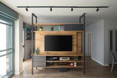 Living Room Partition Design, Room Partition Designs, Interior Design Living Room, Living Room Designs, Tv Stand Room Divider, Room Divider Bookcase, Small Apartment Interior, Muebles Living, Modern Tiny House