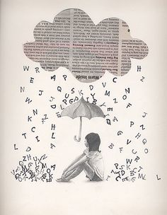 It would be neat to use newspaper background and words cut out after printing. Journal D'art, Art Journals, Newspaper Crafts, Book Crafts, Book Page Art, Book Art, Ecole Art, Illustration, Art Portfolio