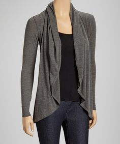Look what I found on #zulily! Charcoal Open Cardigan by Casa Lee #zulilyfinds