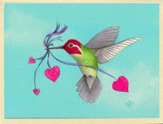 Hummingbird with Hearts Hover Lover Greeting Card by BethNeelyArt