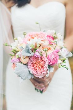 Photo: Cynthia Chung Weddings; What a gorgeous wedding bouquet in soft pink and coral!