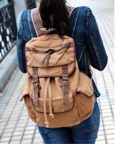 Old School Solid #Canvas Knapsack #Backpack