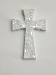 """Mosaic Wall Cross, Shades of White + Silver Mirror, Handmade Stained Glass Mosaic, 12"""" x 8"""", Wedding, Baptism, Communion, Confirmation Gift by GreenBananaMosaicCo"""