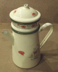 Ancienne cafetiere email coquelicots vintage 1930/50 style retro
