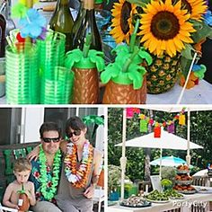 """Mahalo to Seri of littlemisspartyplanner.com for her """"lei'd"""" back luau ideas. We <3 the sweet sunflower-n-pineapple centerpiece & tasty spread of island fare! Click for deets!"""