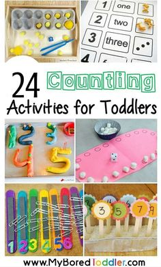 activities for toddlers. Number and counting ideas and activities. Great toddler learning ideas from My Bored Toddlercounting activities for toddlers. Number and counting ideas and activities. Great toddler learning ideas from My Bored Toddler Preschool Learning, Toddler Preschool, Toddler Play, Kids Learning, Toddler Games, Teaching Phonics, Piano Teaching, Teaching Strategies, Teaching Writing
