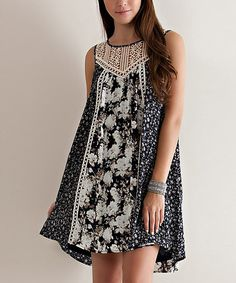 Look at this Navy Floral Crochet Swing Tunic on #zulily today!