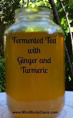 (Kombucha) Fermented Tea Fermented Tea with Ginger and Turmeric. Fermented Tea, Fermented Foods, Probiotic Drinks, Fermentation Recipes, Kombucha Tea, Juice Smoothie, Smoothies, Smoothie Recipes, Health And Nutrition