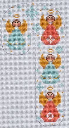 Beautiful hand painted canvas measures x 4 inches in 18 mesh. Full color design is easy to see while you stitch to your heart's content! Cross Stitch Angels, Cross Stitch Bookmarks, Cross Stitch Kits, Cross Stitch Designs, Cross Stitch Patterns, Cross Stitch Christmas Cards, Christmas Cross, Christmas Candy, Christmas Parties