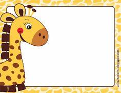 Plantilla para invitacion la jirafita Cute Giraffe Drawing, Giraffe Art, Cute Wallpaper Backgrounds, Cute Wallpapers, Crocodile Cartoon, Cute Borders, Origami Templates, Scrapbook Frames, Bird Crafts