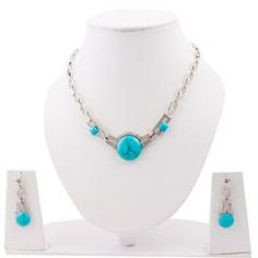 CZ Studded Stainless Steel Pendant, Earrings Set with Chain