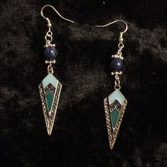 Southwestern style charm earrings Lovingly handmade southwestern style charms beaded with lapis lazuli on .925 Sterling silver hooks Jewelry Earrings