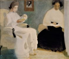 Girls Reading Helene Schjerfbeck (Finnish, Watercolor, gouache and pencil on paper. From about 1902 Schjerfbeck's delicate health began to deteriorate; Art Gallery, Art Museum, Lovers Art, Painter, Painting, Woman Painting, Girl Reading, Art, Schjerfbeck