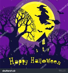 Festive postcard dedicated to Halloween. Night forest and a large yellow moon against which the witch flies on a broom and bats. Yellow Moon, Night Forest, Halloween Night, Bats, Festive, Witch, Royalty Free Stock Photos, Silhouette, Texture