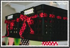 Use coordinated ribbon throughout your classroom or child's bedroom to pull your color theme together.  Adding ribbon to storage crates is an easy way to bring some cuteness and color into your space! - Schoolgirl Style Red Classroom, Mickey Mouse Classroom, Disney Classroom, Classroom Setting, Classroom Setup, Classroom Design, Future Classroom, School Classroom, Classroom Behavior