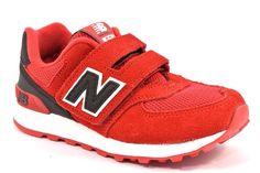 NEW BALANCE KV574CXY ROSSO NERO BIANCO Sneakers Bambino Strappi Camoscio Mesh