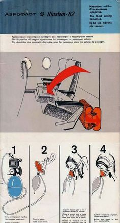 Aeroflot Soviet Airlines safety card