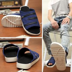 New 2014 men's summer canvas with zip slipper sandals shoes,brand designer causal men beach sandals 5 colors size38-44 $36.75