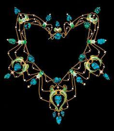 JAMES CROMAR WATT 1862/1940 - Flying Fish Necklace Gold, Enamel, Turquoise. Pearl…