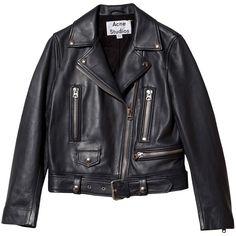Acne Mock biker leather jacket (€1.265) ❤ liked on Polyvore featuring outerwear, jackets, leather jacket, coats, black, long sleeve jacket, genuine leather jacket, long black jacket, motorcycle jacket and black zip jacket