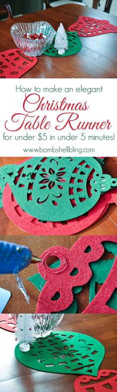 Christmas Table Runner- this is such a cute, fun and easy idea!--felt shapes from dollar tree, hot glue.  with felt placemats on vintage tablecloth?