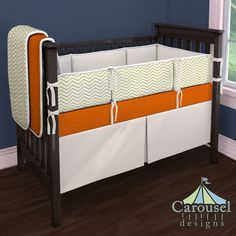 Crib bedding in Solid Orange, Cream Matelesse, White and Gold Chevron, White Pimatex. Created using the Nursery Designer® by Carousel Designs where you mix and match from hundreds of fabrics to create your own unique baby bedding. #carouseldesigns