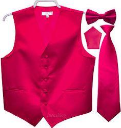 New Mens Tuxedo Vest Waistcoat Necktie Bowtie Hankie Set Hot Pink Prom   eBay
