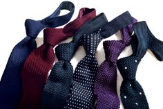 A selection of handmade knitted ties.