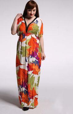 c1873f63ec9 Fashionable Women Short Sleeve Long Floral Dress Flower Printing Maxi  Dresses Ice Silk Bohemian Deep V Neck Dress