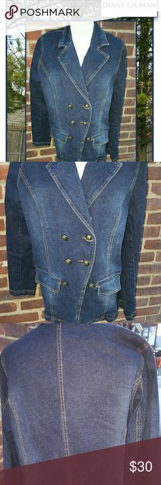 Diane Gilman denim blazer 1 X Fabulous stretchy denim with real pocket sand superb styling. 16 inches shoulder to shoulder and 22 under the arm and 27 inches long to the longest point. Perfect for wearing with the sweater underneath or alone DG 2 Jackets & Coats Jean Jackets