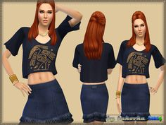 A set of clothing for women with the elements of ethnic style. Four variants of staining. Install a separate slot. Skirt based on the new mesh.  Found in TSR Category 'Sims 4 Female Clothing Sets'