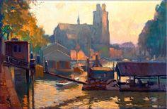 Gezicht op de Nieuwe Haven te Dordrecht, marouflé, Anthonie Pieter Schotel, Dordrecht 5 september 1890 - Laren, 1958