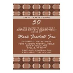 Football Fan Player Surprise Funny Birthday Party Personalized Invitation Your friends will love this funny football surprise birthday party invite. Personalize this unique celebration invitation for your football fan, player or coach big over the hill birthday party! This invite features a background football pattern with tan text and a brown background. Great for any party Great for a 20th , 30th , 40th , 50th , 60th , 70th birthday or any other age!