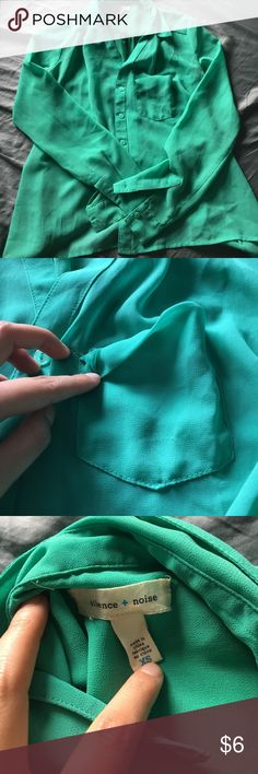 Mint green silence + noise button up shirt Silence and noise brand from urban outfitters. Mint green, size XS. Pocket needs sewing (second pic). 100% polyester. silence + noise Tops Button Down Shirts