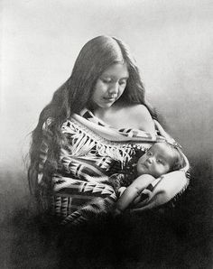 Oregon's Indian Madonna. Native american photograph, year 1905. Vintage native american art print