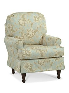 Boothbay Slipcovered Accent Chair, Retreat Glacier, Mahogany Legs