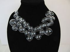 Glass bubbles statement necklace with hollow clear glass beads. Such fun!