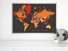 Custom Quote World Map With Countries Us States Canadian Provinces Oceans Labeled Color Combo Blood Oranges