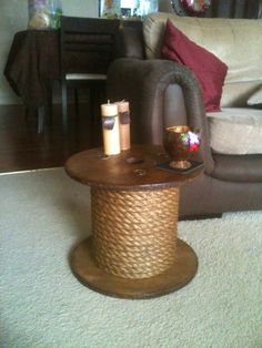 Coffee table upcycled from wire rope reel