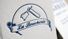 Carte de visite letterpress 1 couleur « La Boucherie » Deathly Hallows Tattoo, Business Cards, Triangle, Tattoos, Letterpress, Blue, Design, Emboss, Butcher Shop