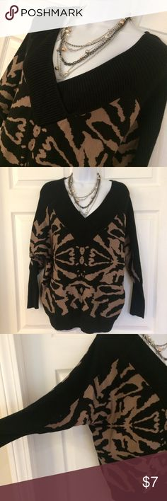 Cato Batwing Sweater Batwing v neck print Sweater by Cato. In very good pre owned condition! Machine wash rayon nylon blend. Sweaters V-Necks