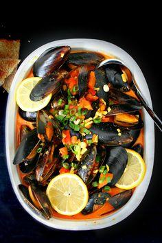 Mussels in Harissa Spiced Coconut Milk @ killingthyme.net!