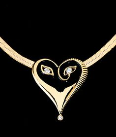 "Erte, Diamond & Enamel Mask Pendant (Mysteries of the Heart Collection), limited edition mask pendant, 18k gold with diamonds and enamel. Officially stamped with Erte's signature and numbered. Based on a 1927 fashion illustration for Harper's Bazaar and later published as part of the ""Hearts and Zephyrs"" suite."