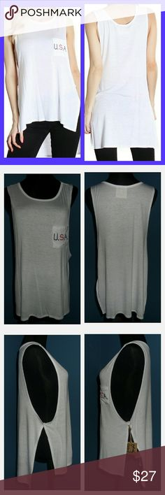 """White USA Summer Tank It's Summer somewhere and there's no better way to show USA pride! White lightweight tank with an embroidered USA pocket square. Sleeveless with low armpit holes. Hi-lo style with dramatic side slits. Prefect with something under or on top of a bikini. 95% rayon 5% spandex. Made in the USA. Hand wash.  Back lengths: 29-30"""" Front lengths: 25-26""""  *~* Bundle & Save *~* Boutique Latiya Tops Tank Tops"""