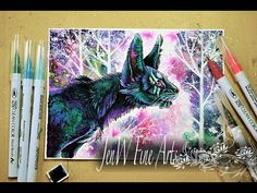 Zig clean color real brush pen review drawing a fantasy feline - YouTube