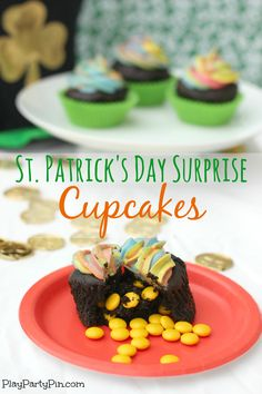 St. Patrick's Day pot of gold cupcakes from playpartypin.com