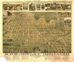 Greencastle, Indiana. Map in 1886. Where I was born..about 100 years before my time.