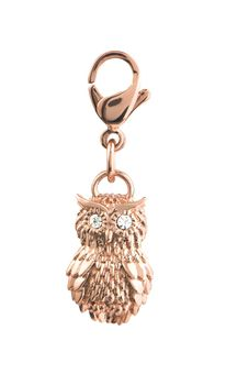 Rose Gold Owl Dangle - from Origami Owl Jewelry.  This Rose Gold Owl will perch perfectly on any creation. He's extra adorable when paired with the Mini Rose Gold Living Locket® with Crystals and the Rose Gold Custom Deco Bracelet.  Dangle Features: Crystal accent, Lobster claw clasp item #: DG6030  $10  Also available in Silver   #origamiowl #jewelry