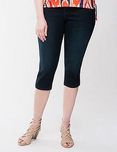 The smooth sateen finish makes our slim-fitting capri a wardrobe essential for polished, put-together ensembles all season long. Curve-hugging stretch offers a sexy fit that flatters with all of your favorite warm weather tops. Dark sandblast wash with clean, dyed-to-match stitching and rivets. Medium rise with button & zip fly closure and belt loops.  lanebryant.com